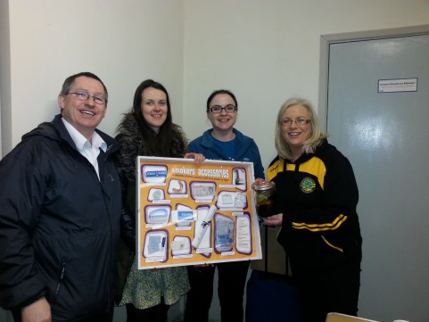 Erne Gael Health & Wellbeing Officer Ciara Hughes with Damien McHugh (County H&W chair) along with Fiona McGlue (cancer focus NI) and Aisling Mann (Corry's Chemist) at their recent presentation on smoking cessation.