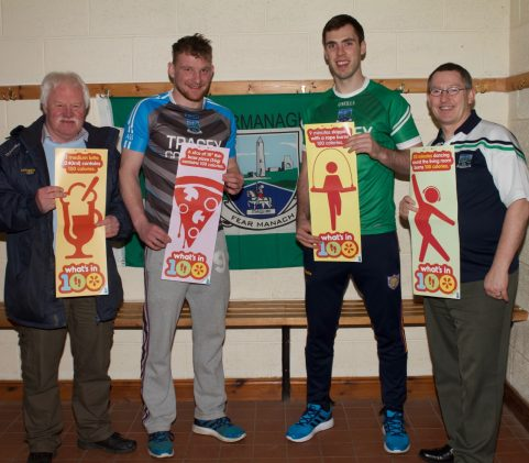 "Greg Kelly (county chairman) with Aiden Breen and Ryan Jones (Fermanagh Senior players) and Damien McHugh (County Health and Wellbeing Offficer) Launching the ""What's in 100"" obesity awareness campaign"