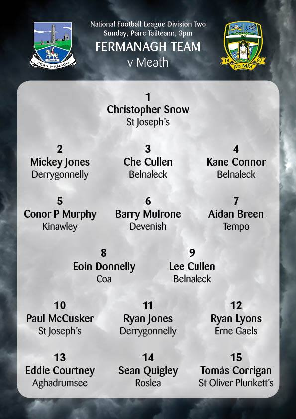 Fermanagh TEAM named v Meath