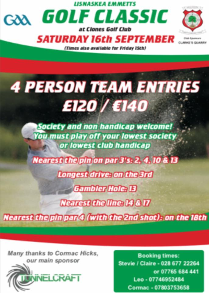 Lisnaskea Emmetts are going Golfing