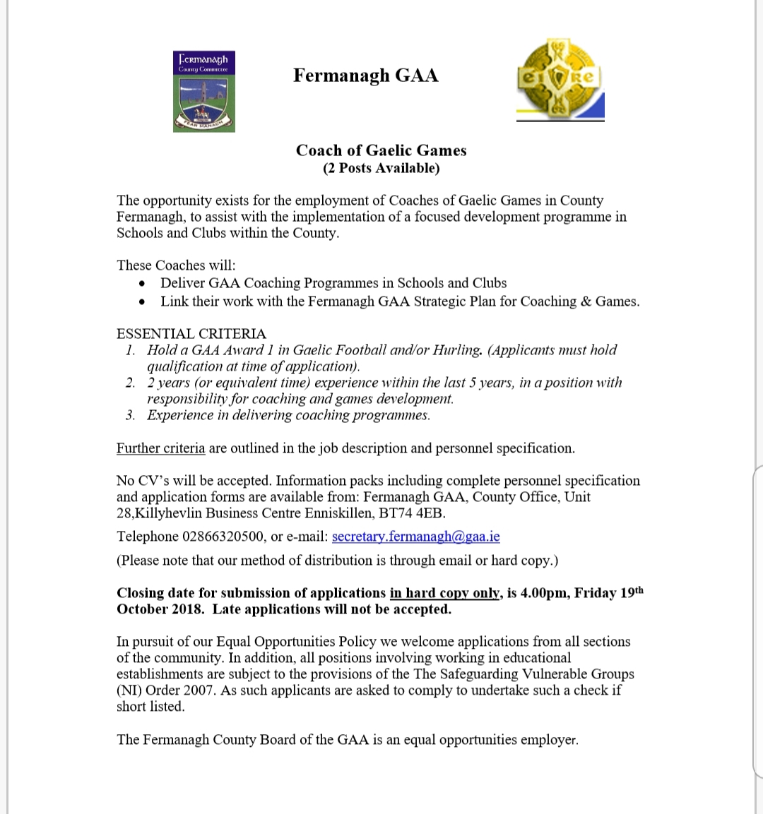 Fermanagh GAA are recruiting for 2 posts