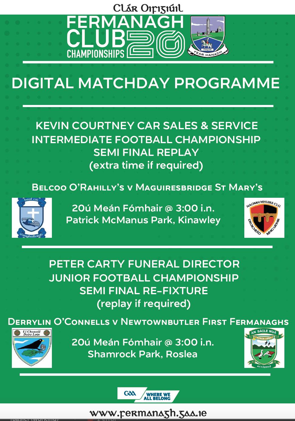Semi Final Replays Weekend – Club Championship Programme